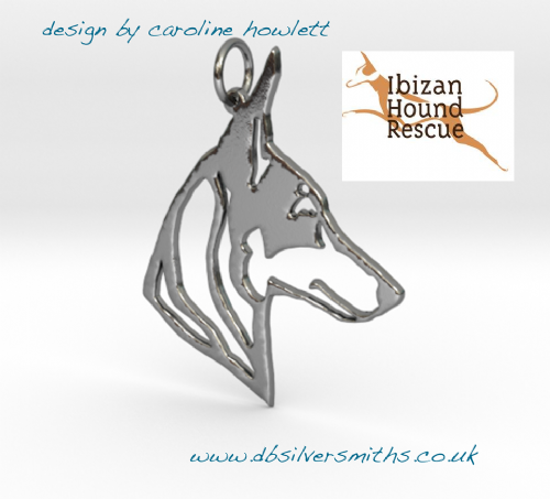 Podenco orito pendant sterling silver handmade by saw piercing for Ibizan Hound Rescue